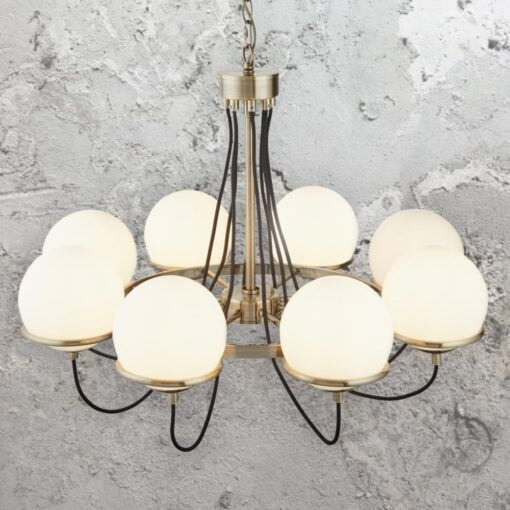Antique Brass and Glass Globe 8 Light Chandelier