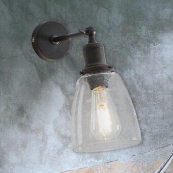Antique Bronze Bell Glass Wall Light