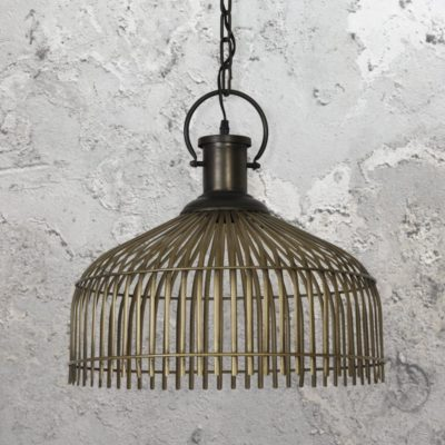 Antique Bronze Cage Pendant Lamp