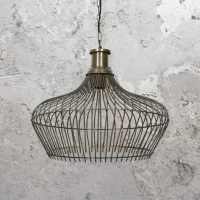Antique Bronze Cage Pendant Light