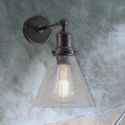 Antique Bronze Cone Glass Wall Light
