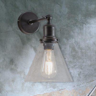 Antique Bronze Cone Glass Wall Light