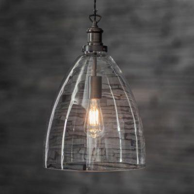 Antique Bronze Open Bell Glass Pendant Light