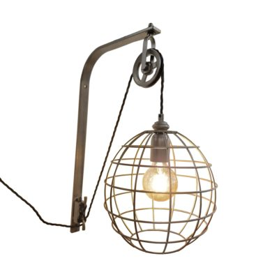 Antique Bronze Pulley Cage Wall Light