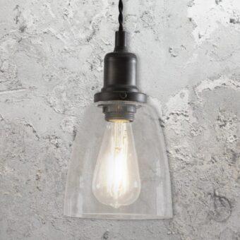 Antique Bronze Small Bell Glass Pendant Light