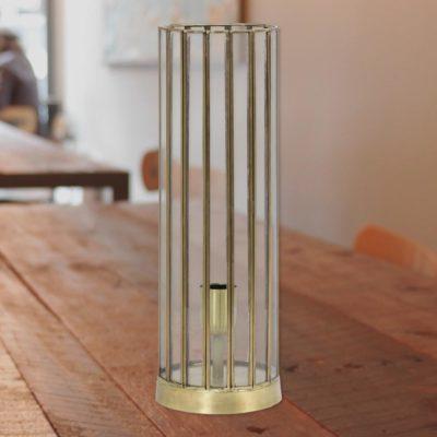 Antique Bronze Vintage Glass Cylinder Table Lamp