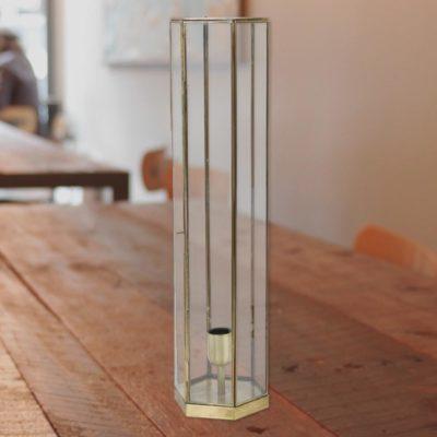 Antique Bronze Vintage Glass Hexagonal Table Lamp