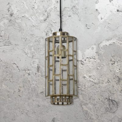 Antique Bronze Vintage Glass Panels Pendant Light