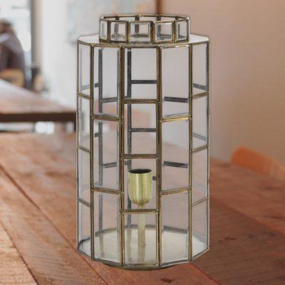 Antique Bronze Vintage Glass Panels Table Lamp