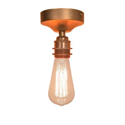 Antique Copper Industrial Flush Ceiling Light