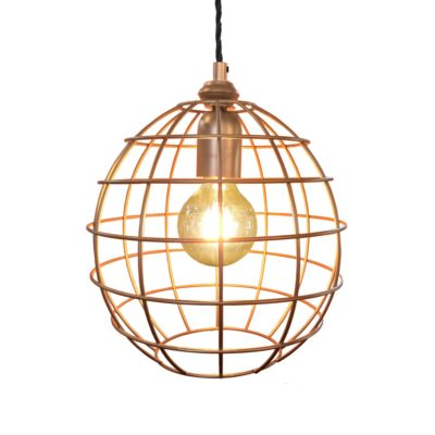 Antique Copper Small Round Cage Pendant Light