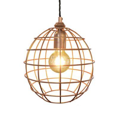 Antique Copper Small Round Cage Pendant Light