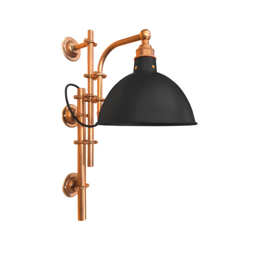 Antique Copper Steampunk Wall Light with Black Shade
