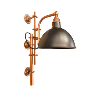 Antique Copper Steampunk Wall Light with Brass Shade