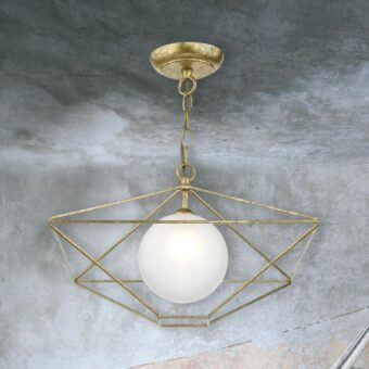 Antique Gold Frame Globe Pendant Light