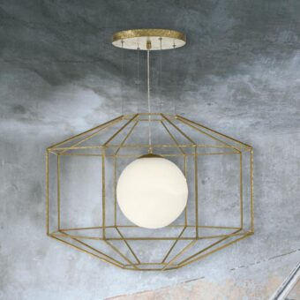 Antique Gold Hexagonal Opal Pendant Light