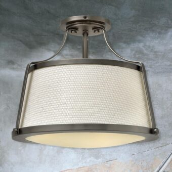 Antique Nickel Fabric Semi Flush