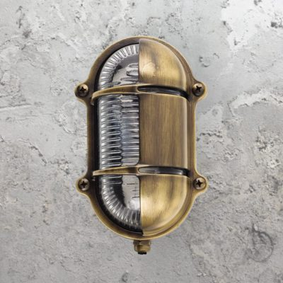 Antique Oval Brass Bulkhead Light With Eyelid Shield