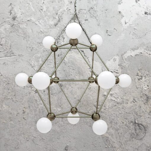 Antique Silver 12 Light Geometric Frame Chandelier