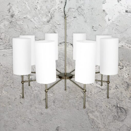 Antique Silver 8 Light Chandelier with Shades