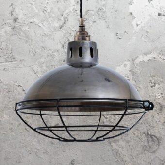 Antique Silver Cage Vintage Dome Pendant Light