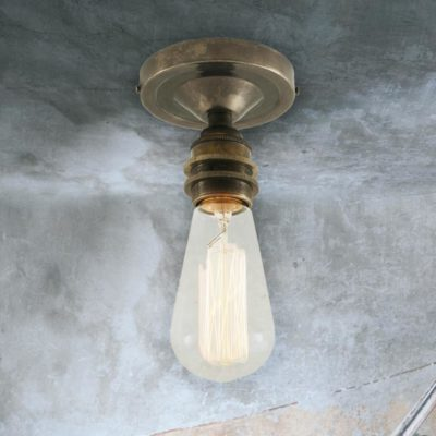 Antique Silver Edison Flush Ceiling Light