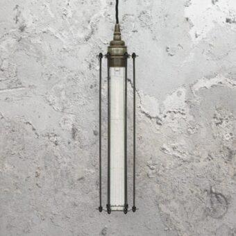 Antique Silver Elongated Cage Pendant Light