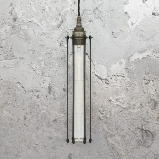 Antique Silver Elongated Cage Pendant Light