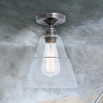 Antique Silver Glass Cone Flush Light