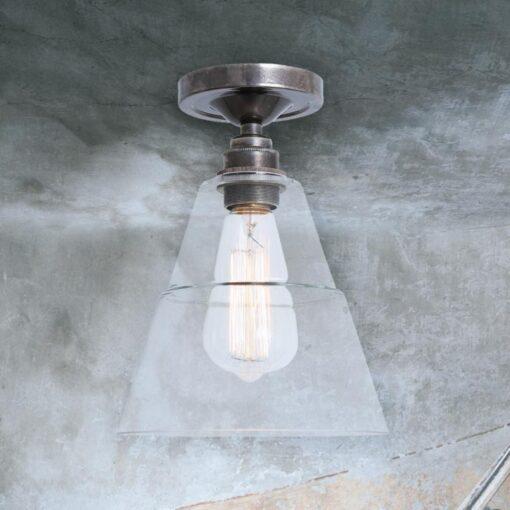 Antique Silver Glass Cone Flush Light