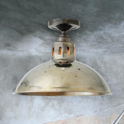 Antique Silver Industrial Dome Flush Light