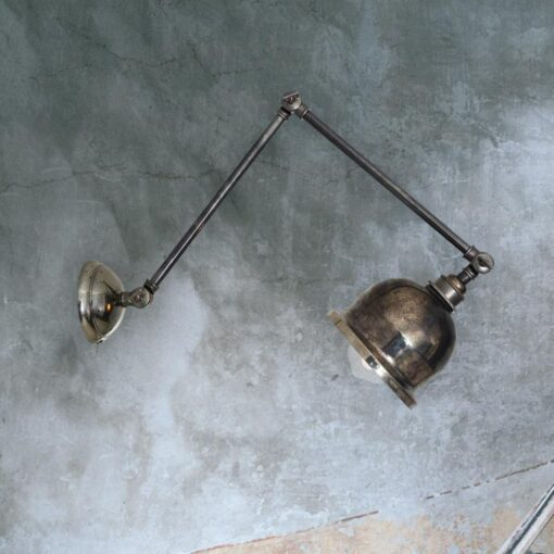 Antique Silver Industrial Extendable Wall Light