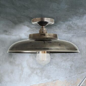 Antique Silver Industrial Farmhouse Flush Mount Light
