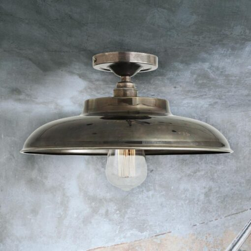 Antique Silver Industrial Farmhouse Flush Mount Light