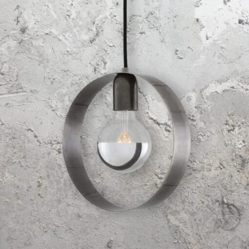 Antique Silver Industrial Ring Pendant Light