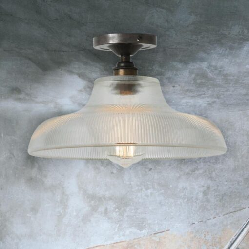 Antique Silver Ribbed Glass Dome Flush Light