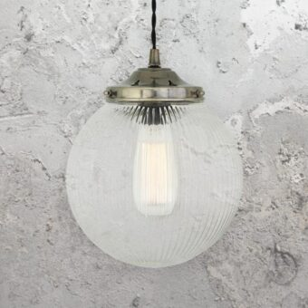 Antique Silver Ribbed Globe Pendant Light 200mm