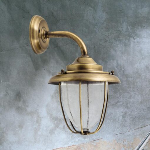 Antique Vintage Brass Cage Wall Lantern