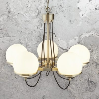 Antique Brass and Glass Globe 5 Light Chandelier
