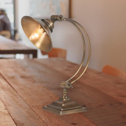 Arched Antique Brass Table Lamp