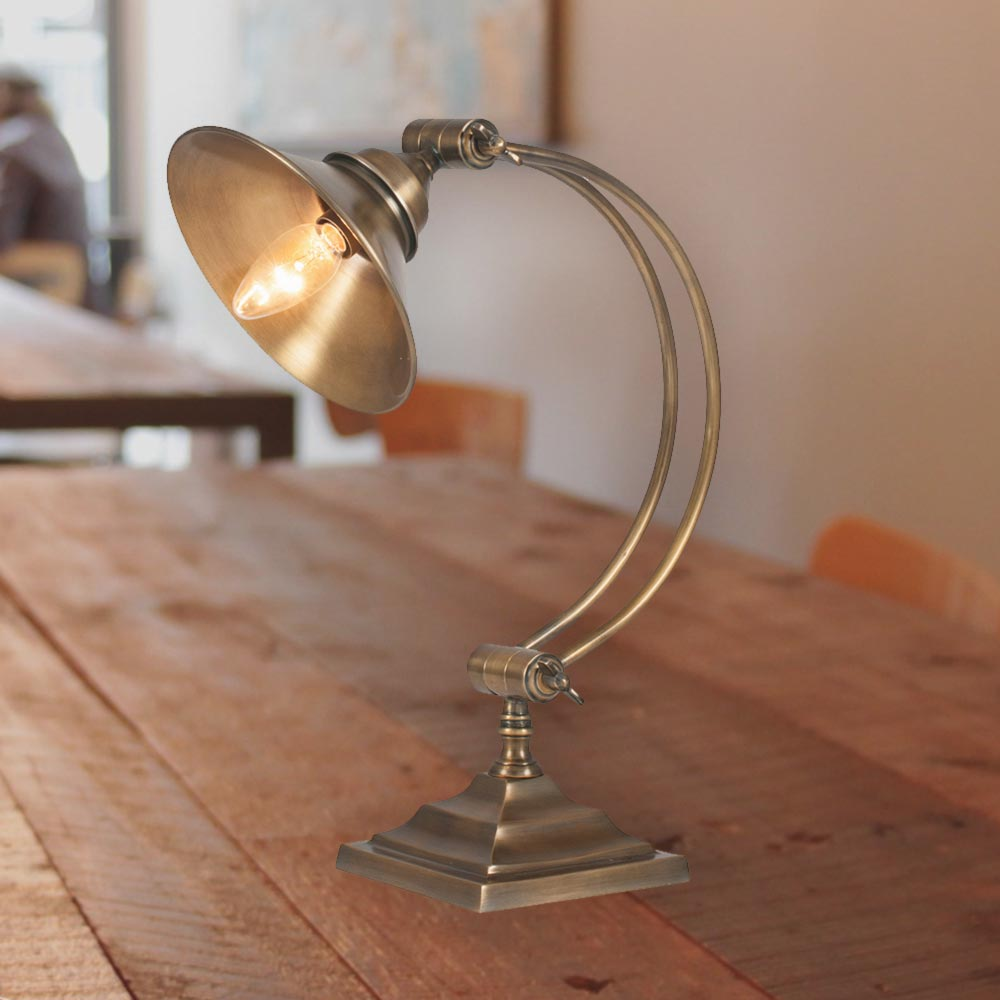 Arched Antique Brass Table Lamp Cl 36311