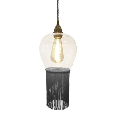Ash Grey Fringe Glass Pendant Light