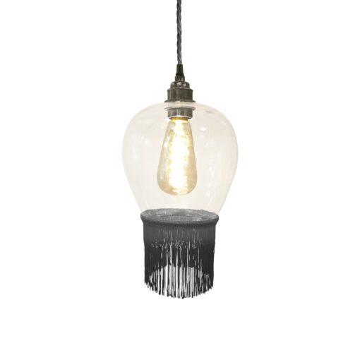 Ash Grey Fringe Glass Pendant Light