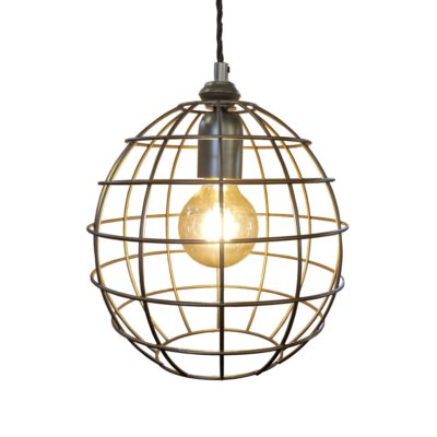 Bespoke Bronze Small Round Cage Pendant Light