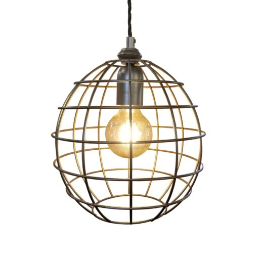 Bespoke Bronze Small Round Cage Pendant Light