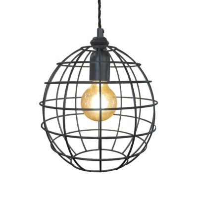 Bespoke Pewter Small Round Cage Pendant Light