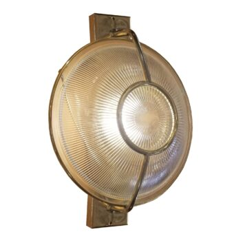 Bespoke Polished Brass Prismatic Glass Dish Wall Light