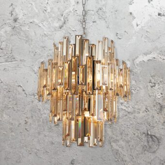Bevelled Amber Crystal Chandelier