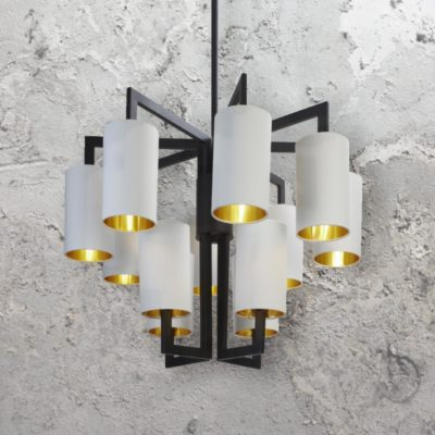 Black 12 Light Chandelier with Shades