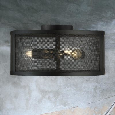 Industrial Black 3 Light Mesh Flush